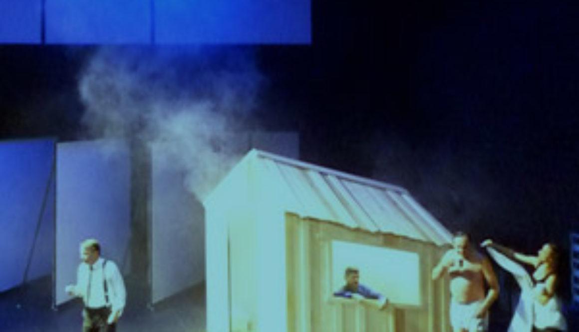Scénographie de Raymond Sarti,Maitre Puntilla et son valet Matti