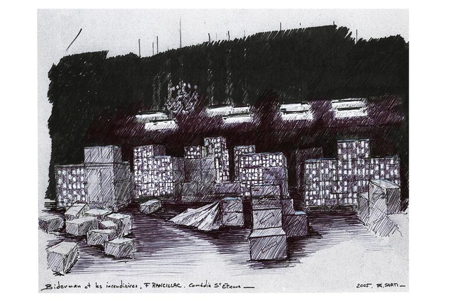 Scénographie de Raymond Sarti, Biderman et les incendiaires